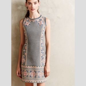 Anthropologie Maeve Grey Embroidered Dress